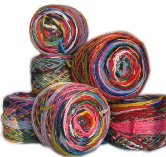 Colorful ball of wool scrap yarn. 3.5 ounces. 200 yards. Self-striping. Magic ball.