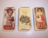 Knit Vintage Children Domino Magnets - Set of 3