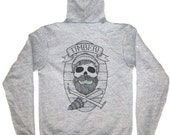 skull on heather grey zip up hoody large