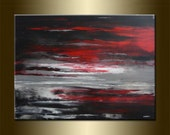 "ORIGINAL LANDSCAPE Abstract Landscape Painting abstract Art Landscape Art acrylic on canvas 23,6"" x 31,5"" x 0,7"" Huge Size Red Black Gray"
