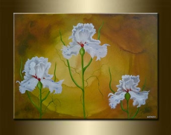 """Modern Art Modern Abstract Landscape Art original abstract PAINTING with FLOWERS acrylic and oil on canvas 23,6"""" x 31,5"""" x 0,7"""" HUGE Size"""