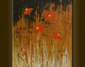 """ORIGINAL abstract PAINTING with flowers Modern Abstract Art Modern Art Contemporary Art acrylic on canvas 19,7""""x 27,6""""x 0,7"""" Brown Red Black"""