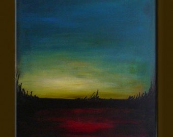 """ORIGINAL LANDSCAPE abstract Landscape Art Modern Abstract PAINTING modern Art acrylic on canvas 19,7"""" x 27,6"""" x 0,7"""" Red Blue Black"""