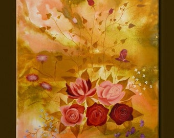 """ORIGINAL abstract PAINTING with FLOWERS Modern Art Watercolor Art acrylic on canvas 23,6"""" x 31,5"""" x 0,7"""" Huge Size Rose Red Yellow Beige"""