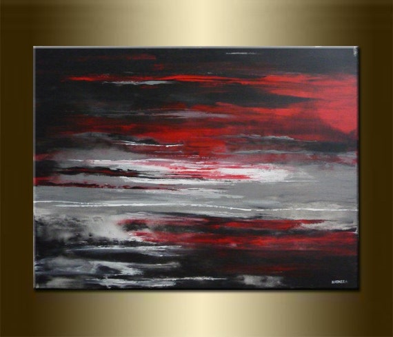 """ORIGINAL LANDSCAPE Abstract Landscape Painting abstract Art Landscape Art acrylic on canvas 23,6"""" x 31,5"""" x 0,7"""" Huge Size Red Black Gray"""