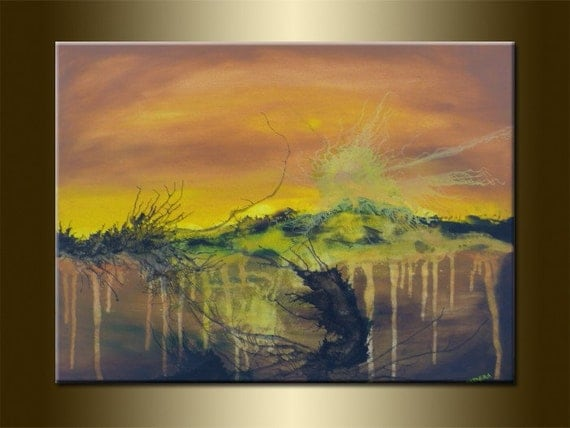"""ORIGINAL abstract PAINTING Art Abstract Landscape Painting Landscape Art acrylic on canvas 23,6"""" x 31,5"""" x 0,7"""" Huge Size Brown Yellow"""