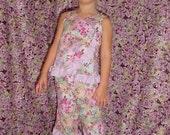 Purple Floral Ruffled Top Capris 3T\/4T