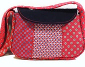 Small Upcycled Necktie Purse w/ a Red Pattern