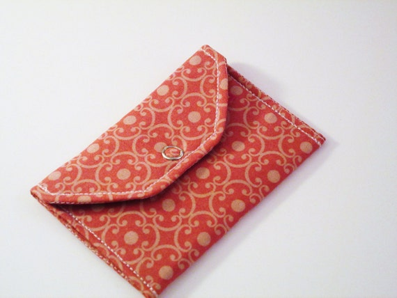 Card Pocket Pink with Light Pink Scroll Pattern