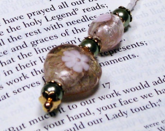 Peach Foiled-Glass Heart and Pearls Beaded Bookmark