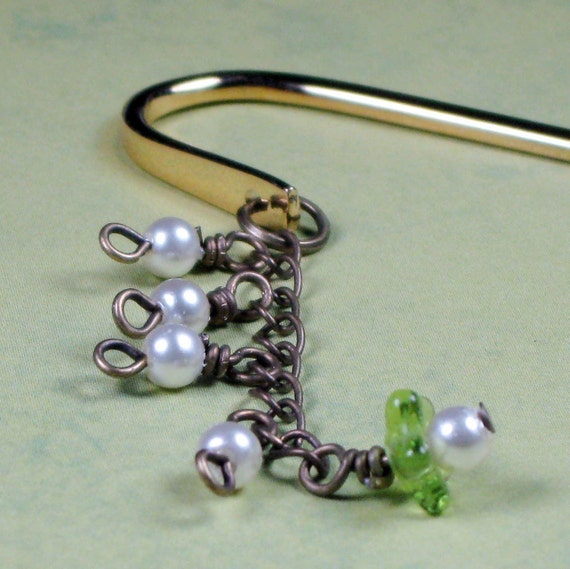 Lily of the Valley Pearl and Bronze Bookmark