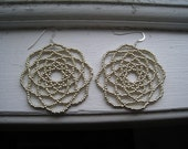 Large Round Silver Flower Earrings, 5.5cm - Peony