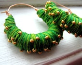 Green Thread Wrapped Hoop Earrings with Gold Beads