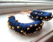 Navy Blue Thread Wrapped Hoop Earrings with Gold Beads