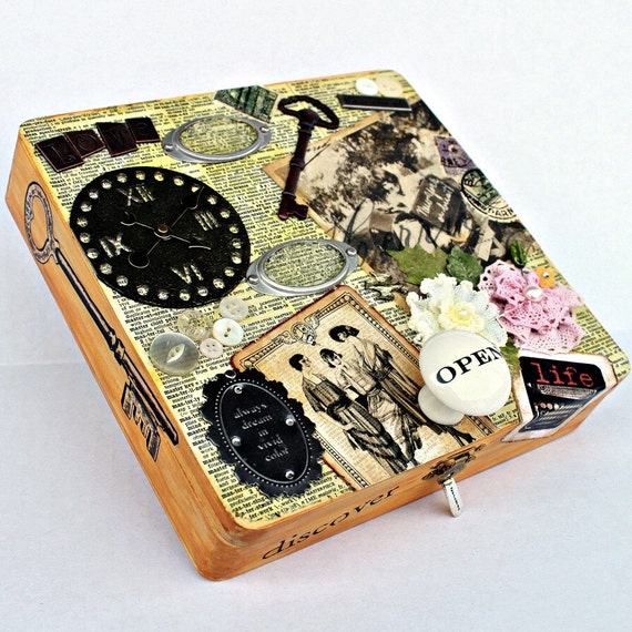 NOSTALGIA Collage Keepsake Wood Treasure Box