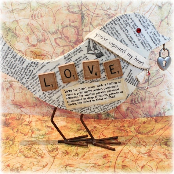 LOVE Altered Wood Bird Cut out  Tabletop Decoupage