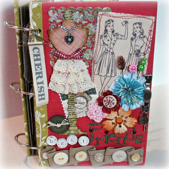 BEST FRIENDS Altered Hardback Book Cover Scrapbook Album