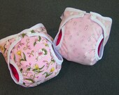 Pretty Posies and Bubble Bum AIO Stuffable Cloth Diaper Set of Two Size Small