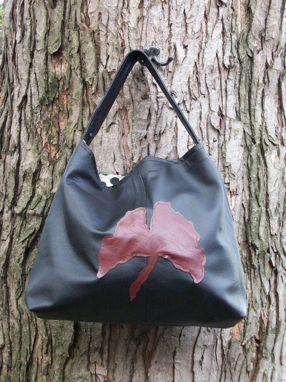 Recycled Black Leather Gingko Hobo