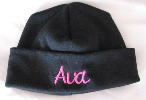 Black Personalized Embroidered Newborn Baby Hat Cap