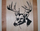 Whitetail deer scroll saw picture, woodcut