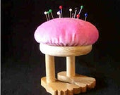 Pin cushion, pink velvet fabric and wood, mini footstool, flat footed