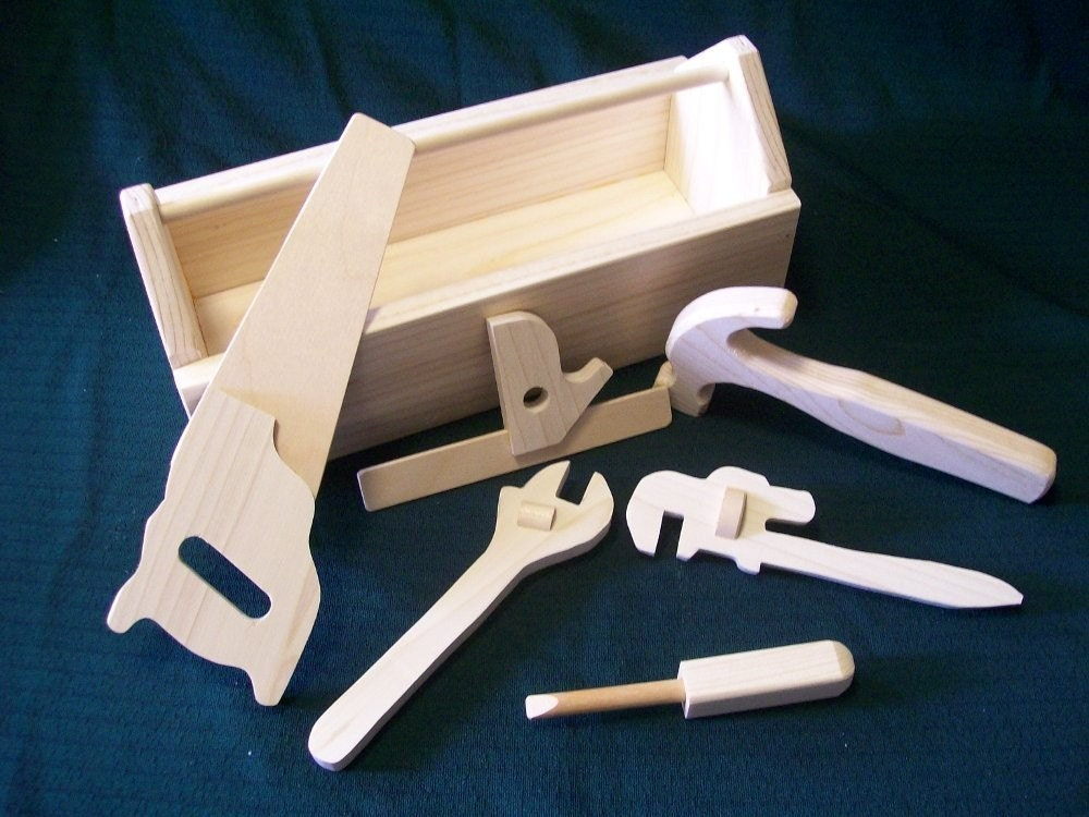 wooden toy tool box with tool kit