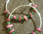 Pink & Green Hoop Earrings
