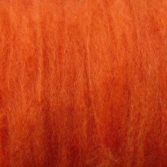 2 oz Pumpkin Orange Dorset Wool Batts