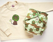 ON SALE Lion Menagerie Traditional Hemp Fitted Diaper & Organic T-shirt Set - Lc sz 2