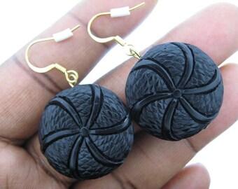 Black Cinnabar Disk Earrings