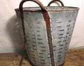 Vintage Olive Bucket from Europe Galvanized Large Rusty Bucket Slats Fabulous