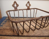 Vintage Metal Basket Soap Holder with decorative hangers from Paris Flea Market French Rusty Shabby