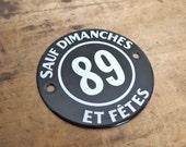 Great old French Enamel Sign Paris Flea Market Find Black white number typography