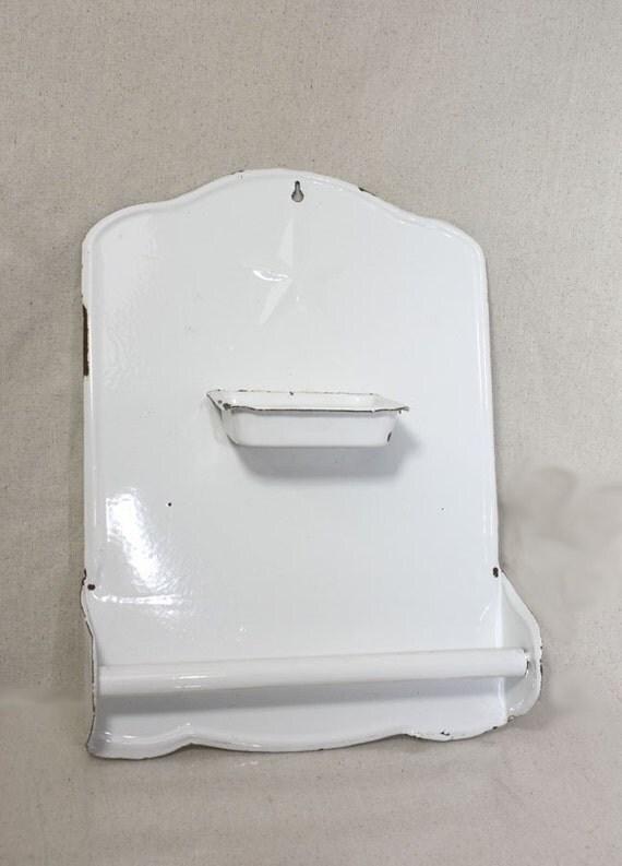 Vintage Enamel Bathroom Soap And Towel Holder