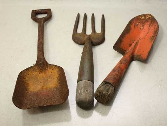 Fun Colorful Vintage Metal Garden Tools Nice and Rusty oh so Shabby Shovel Rake