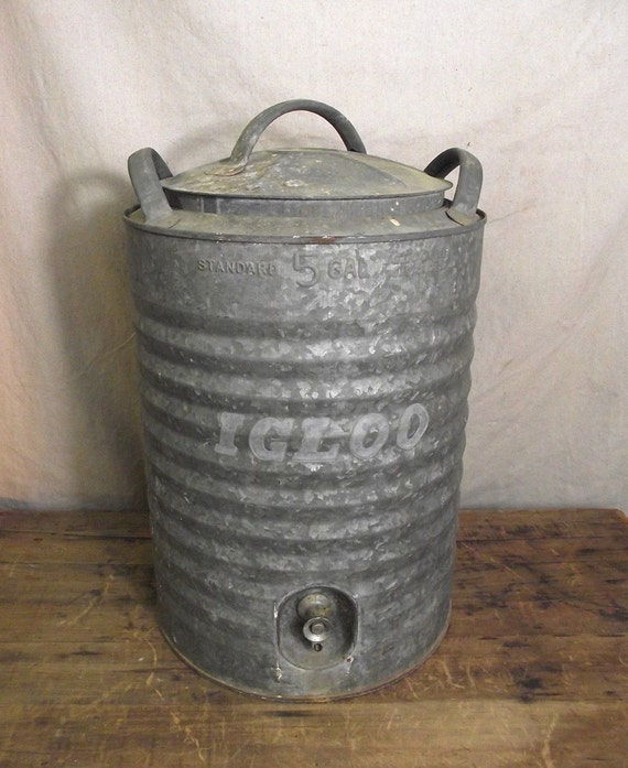 Vintage Large Igloo 5 Gal Drink Cooler Galvanized By