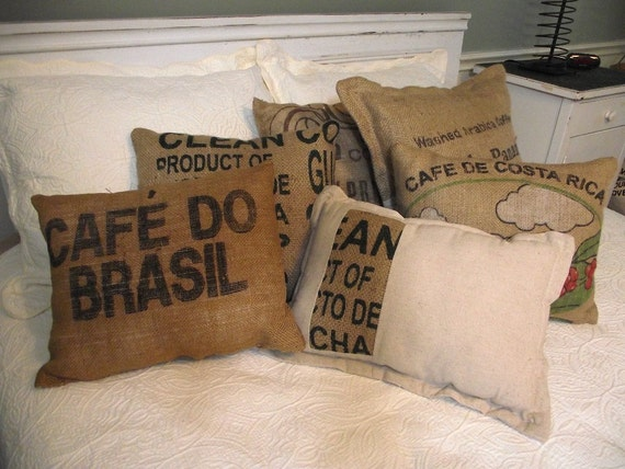 Handmade burlap pillow choice from coffee sacks with great typography choice of 1