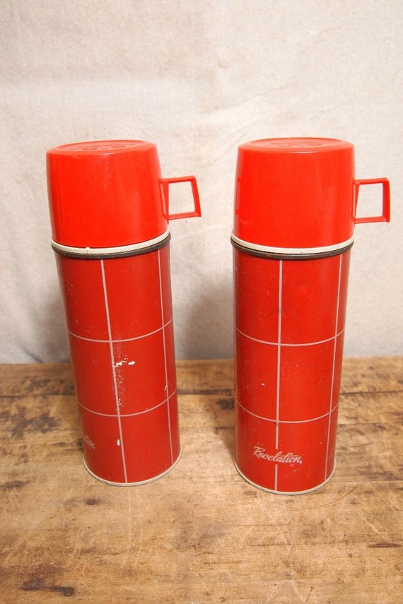 Reduced Lot of 2 vintage Plaid Red Thermos with glass inside 10 tall retro cool