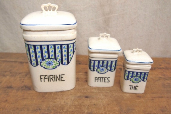 Reduced Price Set of 3 French Canister set with crown handles purchased in Paris