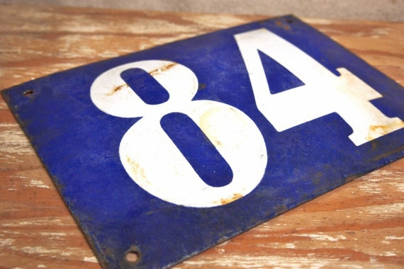 Vintage French Enamel House sign Blue White From a Paris Flea Market
