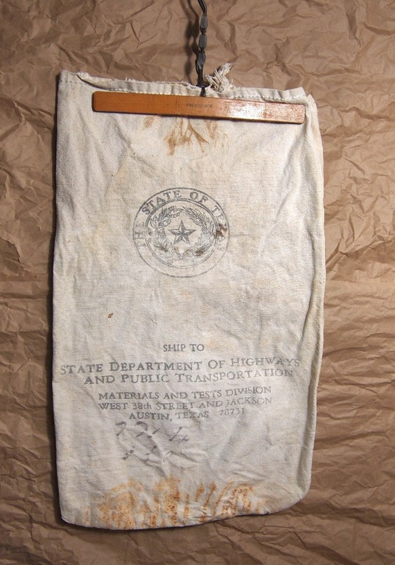 Fabulous old Canvas Bag with numbers and writing State of Texas Seal Highways Department Typography