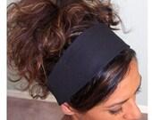 Wide Black HEADBAND Fabulous Basic Plain Fabric Head Band