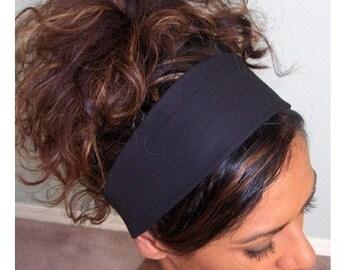 Wide Black Headband, Wide Black Head Band, Basic Headband, Basic Head Band, Plain Headband, Plain Head Band, Black Fabric Headband, Hairband