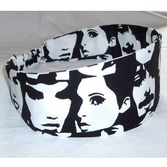 black and white pop art rock star faces wide headband