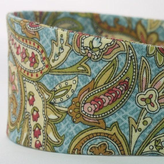 Blue & Green Paisley Print Fashion Headband