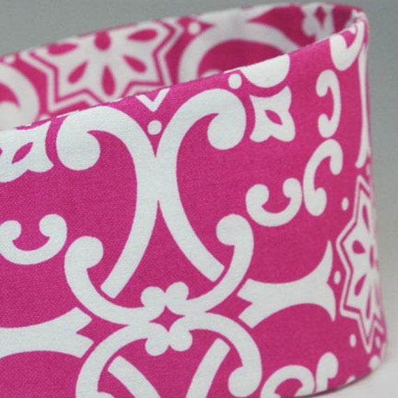 Hot Pink White Damask Print Wide Headbands