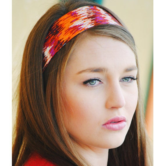 Women's Headband, Orange Purple African Striped Fabric Head Band