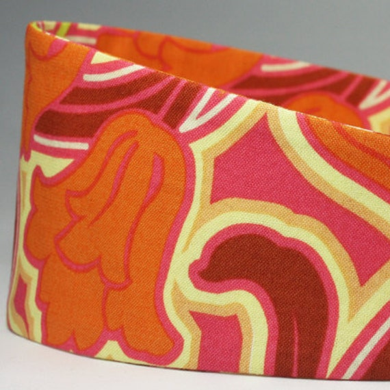 Fabric Headbands, Wide, Colorful Orange, Maroon, Burgundy, Swirly Print