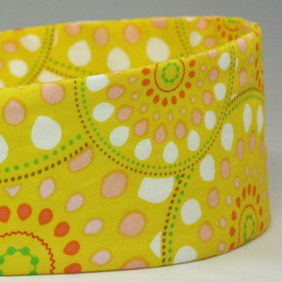 Bright Yellow Motif Print Colorful Headbands for Women